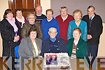Batt Brosnan Kilcummin celebrates his 95th birthday with his friends playing cards in the Marian Hall Firies on Friday night front row l-r: Maureen Sullivan, Batt Brosnan, Catherine Scully. Back row: Mary Kissane, Peig Kissane, Peig Cronin, Mike Walsh, Eileen Coffey, John O'Shea, Peig Brosnan and Joe Scully..