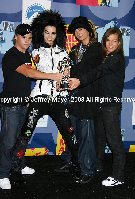 LOS ANGELES, CA. - September 07: Band Tokio Hotel poses in the press room at the 2008 MTV Video Music Awards at Paramount Pictures Studios on September 7, 2008 in Los Angeles, California.