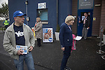Activists from the rival camps pictured with voters at a polling station in Edinburgh on the day that Scotland voted in the independence referendum. Yes Scotland were campaigning for the country to leave the United Kingdom, whilst Better Together were campaigning for Scotland to remain in the UK. On the 18th of September 2014, the people of Scotland voted in a referendum to decide whether the country's union with England should continue or Scotland should become an independent nation once again and leave the United Kingdom.