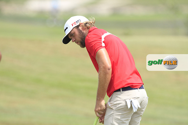 Johan Carlsson (SWE) on the 7th green during Round 4 of the True Thailand Classic at the Black Mountain Golf  Club on Sunday 15th February 2015.<br /> Picture:  Thos Caffrey / www.golffile.ie