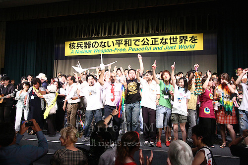 Aug 09, 2009; Nagasaki, Nagasaki Pref., JPN - Students and overseas delegates celebrate together on stage at the World Conference Against A & H Bombs...Photo credit: Darrell MIho.