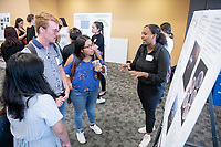 "Elleni Bekele presents, ""Producing Cytochrome P450 Mutants for Biocatalysis""<br /> Mentor: Andrew K. Udit, Chemistry<br /> Occidental College's Undergraduate Research Center hosts their annual Summer Undergraduate Research Conference on July 31, 2019. Student researchers presented their work as either oral or poster presentations at this final conference. The program lasts 10 weeks and involves independent research in all departments.<br /> (Photo by Marc Campos, Occidental College Photographer)"