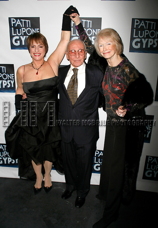 Patti LuPone, director Arthur Laurents and Margaret Styne .attending the Broadway Opening Night After Party for GYPSY at The Mansion in New York City. March 27, 2008 © Walter McBride / Retna Ltd.