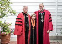 "From left, Professor A.H. ""Woody"" Studenmund, Trustee Rosemary Simmons '53 and President Jonathan Veitch before Occidental College's 133rd Commencement at the Remsen Bird Hillside Theater, on Sunday, May 17, 2015.<br /> (Photo by Marc Campos, Occidental College Photographer)"