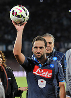 Gonzalo Higuain  the Italian Serie A soccer match between SSC Napoli and Verona  at San Paolo stadium in Naples, October 26, 2014