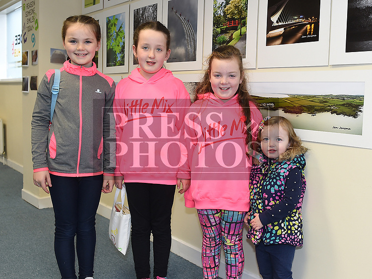 Niamh Boylan, Aimee, Megan and Kate McGee at Ardee Photography Club's first exhibition held in the DEE Hub. Photo:Colin Bell/pressphotos.ie