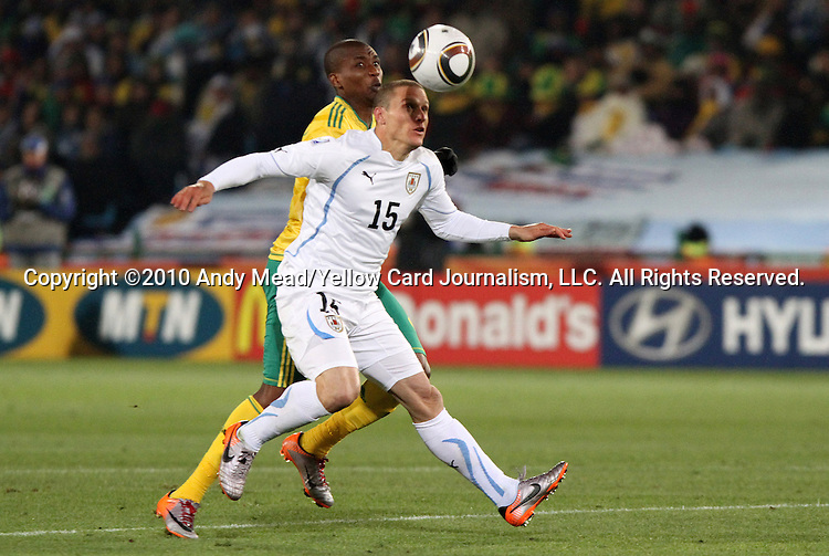 16 JUN 2010: Diego Perez (URU) (15). The South Africa National Team lost 0-3 to the Uruguay National Team at Loftus Versfeld Stadium in Tshwane/Pretoria, South Africa in a 2010 FIFA World Cup Group A match.