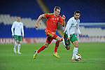 UEFA Under 21 Championship Qualifier - Wales v Bulgaria at the Cardiff City Stadium, UK :<br /> Ryan Hedges of Wales Under 21's is marked by Lazar Marin of Bulgaria Under 21's.