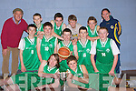 CUP: The St Brendan's under 15 who won the Under 15  Intermediate Championship Cork County  Basketball Board Cup over the weekend. Front Nathan Roche and Marcos Prenderville. Centre l-r: Rhys Barry, Cairdhe Fitzgerald, Sean Dowling, Cian O'Sullivan and Tommy Sheehy. Back l-r: Kevin Cavanagh(coach), Darragh Costello, Liam O'Herlihy, John Kelly, Darragh Walsh and Sharon Roche.......... ..........