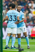 Manchester City Raheem Sterling  celebrating second goal during the EPL - Premier League match between West Ham United and Manchester City at the Olympic Park, London, England on 29 April 2018. Photo by Andrew Aleksiejczuk / PRiME Media Images.