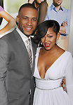 """HOLLYWOOD, CA - FEBRUARY 09: Columbus Short and Meagan Good arrive at the """"Think Like A Man"""" Los Angeles Premiere at the ArcLight Cinemas Cinerama Dome on February 9, 2012 in Hollywood, California."""
