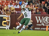 New York Jets kicker Taylor Bertolet (6) kicks-off to start the game against the Washington Redskins at FedEx Field in Landover, Maryland on Thursday, August 16, 2018.<br /> Credit: Ron Sachs / CNP<br /> (RESTRICTION: NO New York or New Jersey Newspapers or newspapers within a 75 mile radius of New York City)
