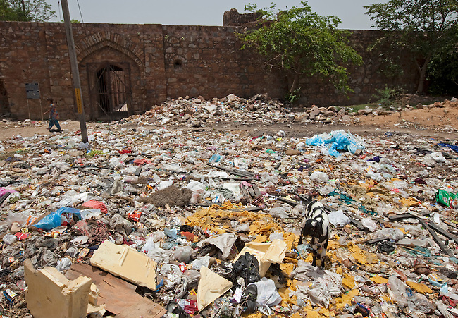 A sea of rubbish sits outside the Mughal ruins at Shivalik, Malviya Nagar in Delhi.The Archaeological Survey of India has been on a campaign to evict people who have illegally made the tombs their homes throughout the city in recent times but is facing stiff opposition from the residents.