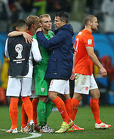 Robin Van Persie of Netherlands consoles Netherlands goalkeeper Jasper Cillessen after losing the penalty shootout
