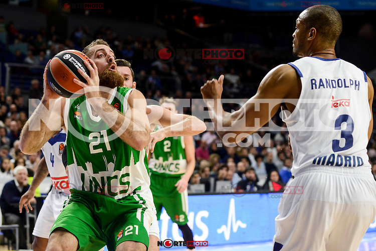 Real Madrid's player Rudy Fernandez and Anthony Randolph and Unics Kazan's player Kostas Kaimakoglou during match of Turkish Airlines Euroleague at Barclaycard Center in Madrid. November 24, Spain. 2016. (ALTERPHOTOS/BorjaB.Hojas) //NORTEPHOTO