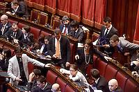 Roma, 16 Marzo 2013.Montecitorio, Camera dei Deputati.Secondo giorno in Aula della XVII Legislatura del Parlamento italiano.Elezione del Presidente.Deputati del movimento 5 stelle