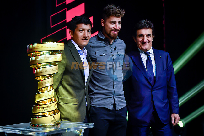 Richard Carapaz, Peter Sagan and Urbano Cairo on stage at the route presentation for the 103rd edition of the Giro d'Italia 2020. L-R Renato Di Rocco, Vincenzo Spadafora, Urbano Cairo, Giuseppe Sala. Held in the RAI Studios, Milan, Italy. <br /> 24th October 2019.<br /> Picture: LaPresse/Claudio Furlan | Cyclefile<br /> <br /> All photos usage must carry mandatory copyright credit (© Cyclefile | LaPresse/Claudio Furlan)