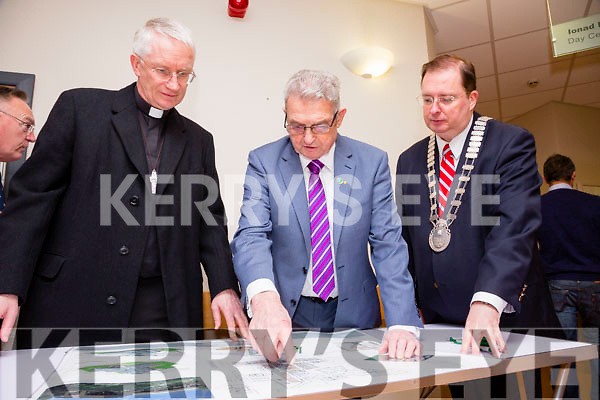 At the turning of the sod at the in-patient palliative care unit  on Friday were   Bishop Ray Murphy  Ted Moynihan and Tralee Mayor Thomas McEllistrim looking over the plans
