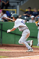 Beloit Snappers second baseman Chih Fang Pan (10) at bat during a game against the Clinton LumberKings on August 17, 2014 at Ashford University Field in Clinton, Iowa.  Clinton defeated Beloit 4-3.  (Mike Janes/Four Seam Images)