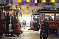 Street cars and couples converge on Istiklal Caddesi in Beyoglu, Istanbul, Turkey on November 8, 2012.