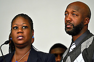 April 11, 2012  (Washington, DC)  Sabrina Fulton (l) and Tracy Martin (r), parents of Trayvon Martin, during a news conference at the Washington Convention Center April 11, 2012. (Photo by Don Baxter/Media Images International)