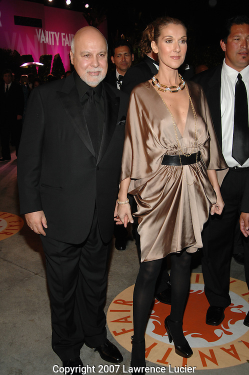 Rene Angelil and Celine Dion attend the 2007 Vanity Fair Oscar Party held at Morton's Steakhouse in Los Angeles, CA, USA on February 25, 2007... (Pictured : CELINE DION).