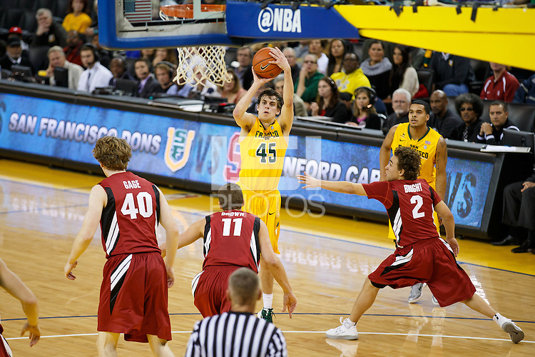 Oakland, CA -- November 9, 2012: USF's Cody Doolin during a game against Stanford at the Oracle Arena. Stanford defeated the Dons 74 - 62.