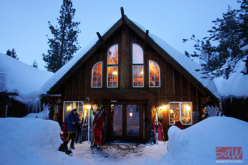 LOS ANGELES,CA - JANUARY 25, 2008:  Lost Trail Lodge near Truckee. Hidden four miles into Coldstream Canyon, the lodge, in beautiful Sierra Nevada's give the phrase, getting there is half the fun,  new meaning. Once at the lodge, guests are cut off from society. No phones or cable TV.