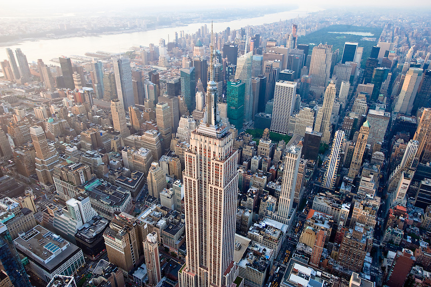 Aerial view of midtown Manhattan with the Empire State Building, Times Square and Central Park.