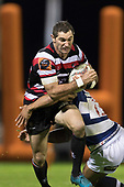 Stephen Donald runs in to Malakai Fekitoa's tackle. Mitre 10 Cup rugby game between Counties Manukau Steelers and Auckland played at ECOLight Stadium, Pukekohe on Saturday August 19th 2017. Counties Manukau Stelers won the game 16 - 14 and retain the Dan Bryant Memorial trophy.<br /> Photo by Richard Spranger.