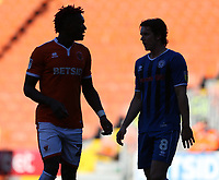 Blackpool's Armand Gnanduillet and Rochdale's Jordan Williams<br /> <br /> Photographer Stephen White/CameraSport<br /> <br /> The EFL Sky Bet League One - Blackpool v Rochdale - Saturday 6th October 2018 - Bloomfield Road - Blackpool<br /> <br /> World Copyright &copy; 2018 CameraSport. All rights reserved. 43 Linden Ave. Countesthorpe. Leicester. England. LE8 5PG - Tel: +44 (0) 116 277 4147 - admin@camerasport.com - www.camerasport.com
