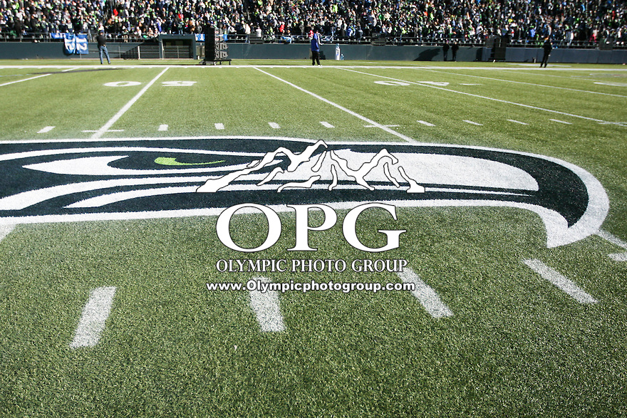 2014-02-05:  The Seattle Seahawks logo was displayed at the 50 yard line on Century Link Field. Seattle Seahawks players and 12th man fans celebrated bringing the Lombardi trophy home to Seattle during the Super Bowl Parade at Century Link Field in Seattle, WA.