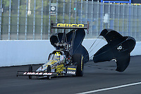 Nov. 9, 2012; Pomona, CA, USA: NHRA top fuel dragster driver Morgan Lucas during qualifying for the Auto Club Finals at at Auto Club Raceway at Pomona. Mandatory Credit: Mark J. Rebilas-