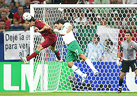 Ricardo Carvalho (16) of Portugal heads away from Jose Fonseca (17) of Mexico. Portugal defeated Mexico 2-1 in their FIFA World Cup Group D match at FIFA World Cup Stadium, Gelsenkirchen, Germany, June 21, 2006.