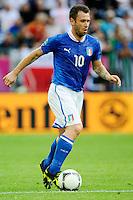 GDANSK, POLONIA, 10 JUNHO 2012 - EURO 2012 -  ESPANHA X ITALIA - Antonio Cassano  jogador da Italia durante partida contra a Espanha em jogo valido pela primeira rodada do Grupo C, na Arena de Gdansk na Polonia neste domingo, 10. (FOTO: DANIELE BUFFA / PIXATHLON / BRAZIL PHOTO PRESS.
