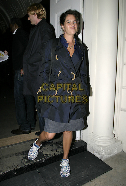 TRACEY EMIN.Attends intimate dinner at Sketch, to launch The One & Only Reethi Rah, an exclusive island resort in the Maldives, Sketch, Conduit Street, London, .April 19th 2005..full length tracy fashion disatser blue mac trench coat belted trainers scruffy chav gold chains necklaces jewellery.Ref: AH.www.capitalpictures.com.sales@capitalpictures.com.©Adam Houghton/Capital Pictures.