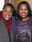 Amber Riley with mom Tiny (GLEE)  backstage at Encores! 'Cotton Club Parade' at City Center in New York City on 11/17/2012