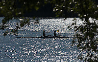 Brandenburg. GERMANY. Women's Double scull moving away from the boating area, Silhouette.<br /> 2016 European Rowing Championships at the Regattastrecke Beetzsee<br /> <br /> Saturday  07/05/2016<br /> <br /> [Mandatory Credit; Peter SPURRIER/Intersport-images]
