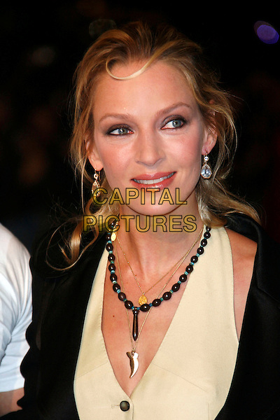 "UMA THURMAN.The Accidental Husband"" UK premiere in aid of The Fire Service National Benevolent Fund Vue West End cinema Leicester Square, London, England .February 13th, 2008.headshot portrait necklaces beads beaded .CAP/DAR.©Darwin/Capital Pictures."