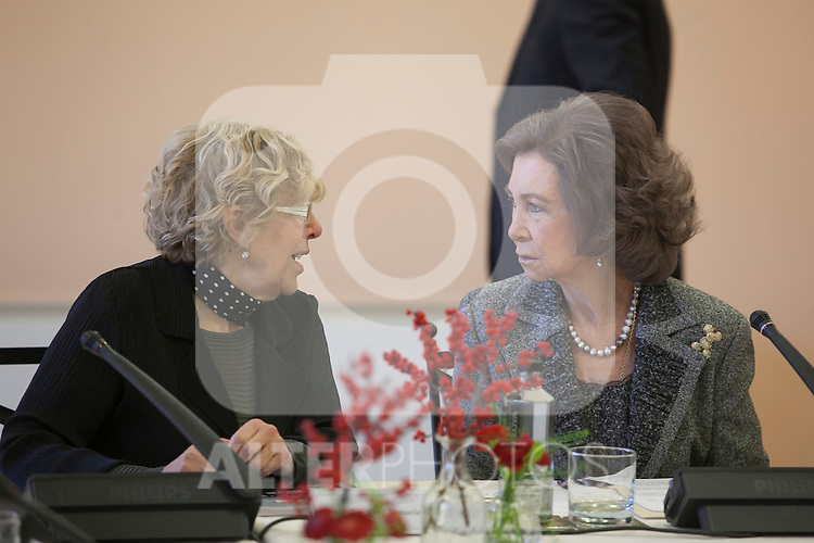 Queen Sofia of Spain (R) and Madrid Mayor Manuela Carmena (L) attend the Reina Sofia Music School board meeting in Madrid, Spain. December 11, 2015. (ALTERPHOTOS/Victor Blanco)