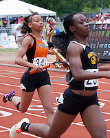 Waynesville senior Dorothy Adams crosses the finishline of the Class 4 Girls 4x200 relay that finished 7th in 1:44.42 at the MSHSAA Class 3-4 State Track and Field Championships, Saturday, May 25, in Jefferson City, MO.