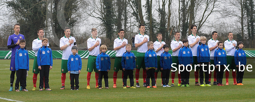 20160324 - Buderich , GERMANY : Bulgarian team U17 with Dimitar Sheytanov (1)  Aleksandar Bastunov (3)  Georgi Kostov (4)  Ivan Tilev (8)  Stanislav Ivanov (9)  Vladislav Zhikov (10)  Kaloyan Krastev (13)  Dimitar Kostadinov (14)  Denis Buchev (15)  Mitko Mitkov (16)  Ivan Mitrev (19)  pictured during the soccer match between the under 17 teams of The Netherlands and Bulgaria , on the first matchday in group 4 of the UEFA Under17 Elite rounds in Buderich , Germany. Thursday 24th March 2016 . PHOTO DAVID CATRY