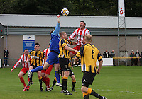 Neil Hastie comes out to punch in the Huntly v Wigtown & Bladnoch William Hill Scottish Cup 1st Round match, at Christie Park, Huntly on 25.8.12.