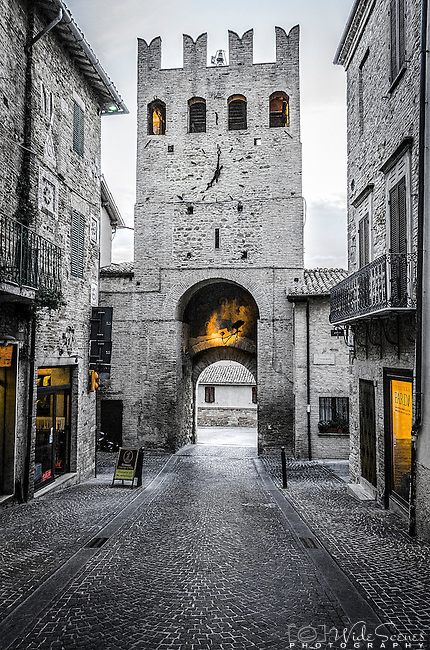 Sant' Agostino gate, the main entrance (porta) to the hill top town of Montefalco, in Umbria, Italy
