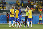 (L-R) Maicon, Fernandinho, Thiago Silva, Oscar (BRA), JULY 8, 2014 - Football / Soccer : Brazilian players look dejected after losing the FIFA World Cup 2014 semifinal match between Brazil and Germany at the Estadio Mineirao in Belo Horizonte, Brazil. (Photo by AFLO) [3604]