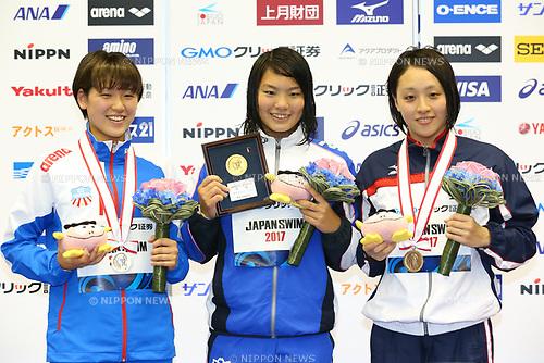 (L-R) Sakurako Ueda, Yukimi Moriyama, Misato Iwanaga, <br /> APRIL 16, 2017 - Swimming : <br /> Japan swimming championship (JAPAN SWIM 2017) <br /> Women's 1500m Freestyle Victory Ceremony <br /> at Nippon Gaishi Arena, Nagoya, Aichi, Japan. <br /> (Photo by Sho Tamura/AFLO SPORT)