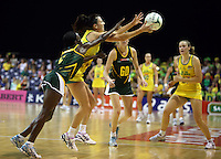 17.10.2012 Australia's Natalie Von Bertouch and South Africa's Bongiwe Msomi in action during the Australia v South Africa netball test match as part of the Quad Series played in Newcastle Australia. Mandatory Photo Credit ©Michael Bradley.