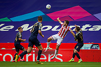 4th July 2020; Bet365 Stadium, Stoke, Staffordshire, England; English Championship Football, Stoke City versus Barnsley; Sam Vokes of Stoke City attempts to get to the header