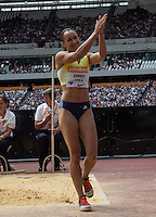 Jessica ENNIS HILL of GBR (Women's Long Jump) applauds the crowd during the Sainsbury's Anniversary Games, Athletics event at the Olympic Park, London, England on 25 July 2015. Photo by Andy Rowland.