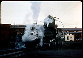 D&amp;RGW #483 K-36 on turntable at Alamosa locomotive hoist with shops in background.<br /> D&amp;RGW  Alamosa, CO  7/24/1963